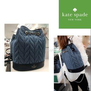 🆕  Kate spade Quilted Denium Bucket Backpack
